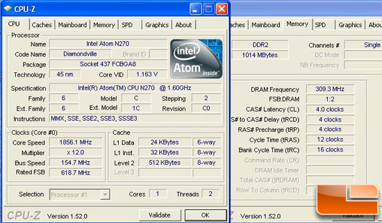 MSI Wind U100 Netbook Overclocked CPU-Z
