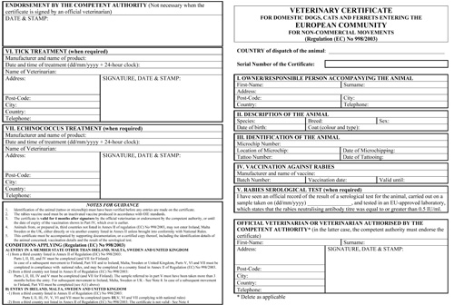 European Union EU Veterinary Health Form 998