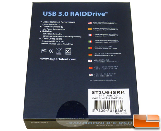 Super Talent 64GB RAIDDrive USB 3.0 Flash Drive Box