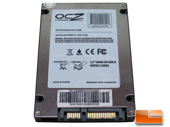 OCZ Vertex 2 100GB SSD Back