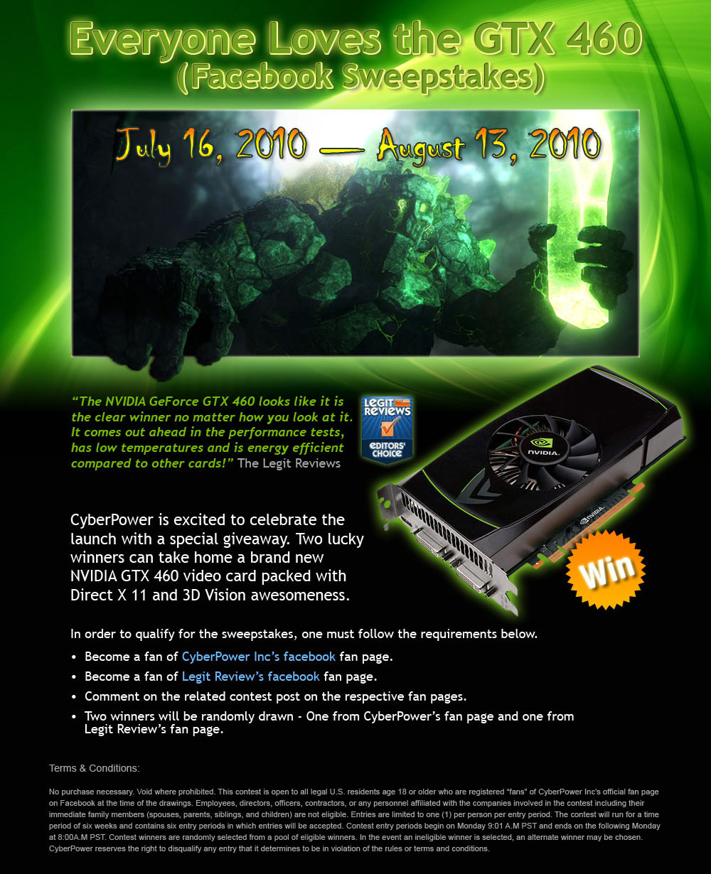 NVIDIA GeForce GTX 460 Facebook Fan Page Sweepstakes - Legit