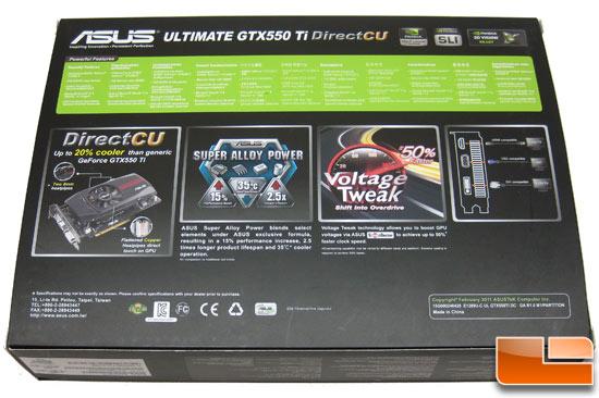 ASUS Ultimate GeForce ENGTX 550 Video Card Retail Box Back
