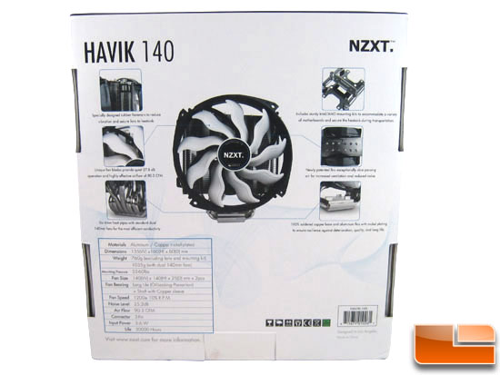 NZXT Havik 140 CPU Cooler box back