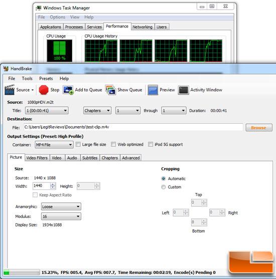 HandBrake 0.9.5 benchmarking