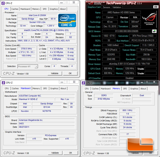 ASUS Maximus IV Gene-Z Test System and Settings