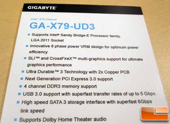 GIGABYTE GA-X79-UD3 Motherboard Specifications