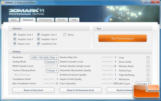 Futuremark 3DMark 11 Benchmark Settings