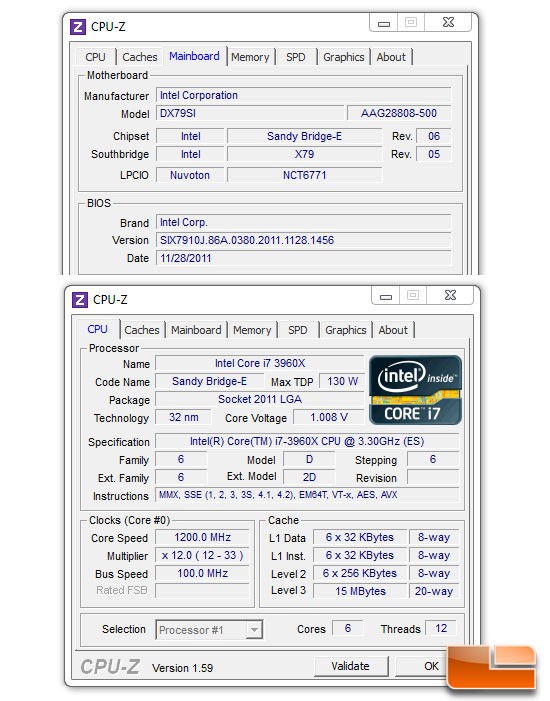 Legit Reviews Intel Core i7 3960X Test System CPUz