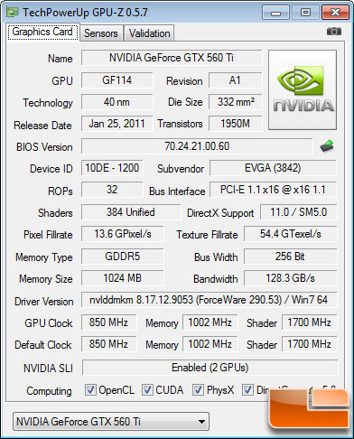 EVGA GeForce GTX 560 Ti 2Win Test Settings
