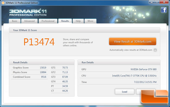 Futuremark 3DMark 11 Benchmark Results