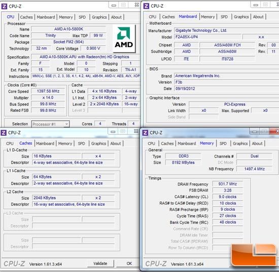 AMD A85 Test Settings