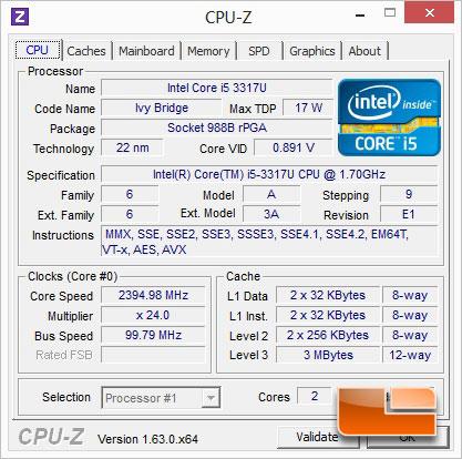 ASUS S500C CPUz & Windows Experience Index