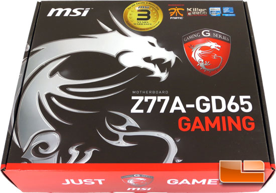 MSI Z77A-GD65 Gaming Series Motherboard Retail Packaging