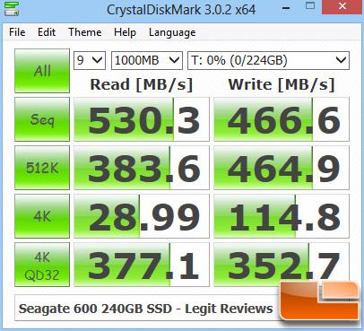 Seagate 600 240GB CRYSTALDISKMARK Z77