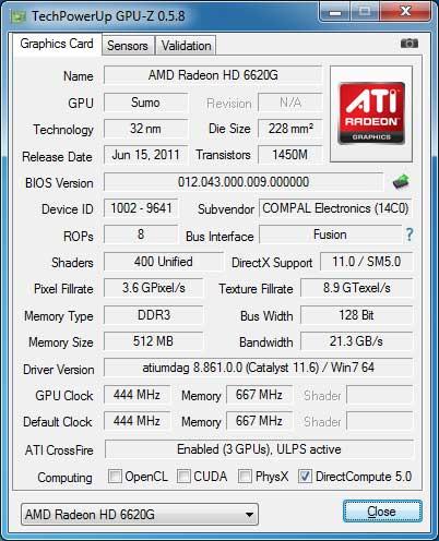 ATI AMD RADEON HD 6620G WINDOWS 7 DRIVER