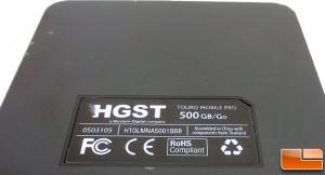 HGST TOURO Pro 500GB Label