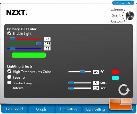 NZXT Kraken Control Light Settings