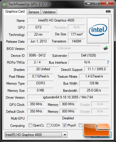 Alienware X51 R2 Intel HD Graphics 4600 GPUz