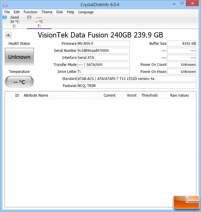 Crystal Disk Info VisionTek PCIe SSD