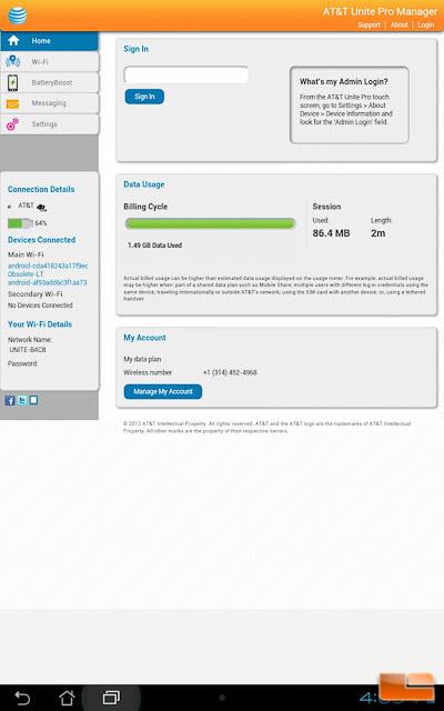 AT&T Unite Pro Web GUI