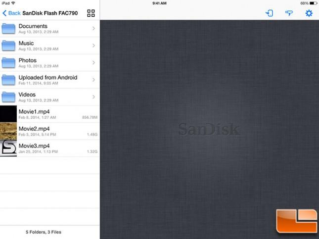 SanDisk Wireless Flash iOS Main Menu