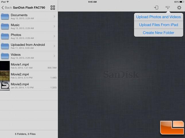 SanDisk Wireless Flash iOS Upload