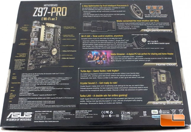 ASUS Z97 Pro Motherboard Retail Packaging