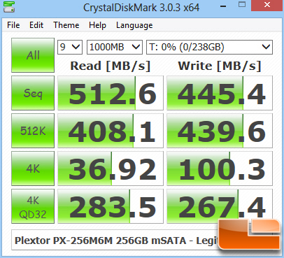 Plextor M6M Crystal Disk Mark