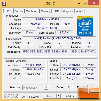 Intel Pentium G3258 at 4.8GHz