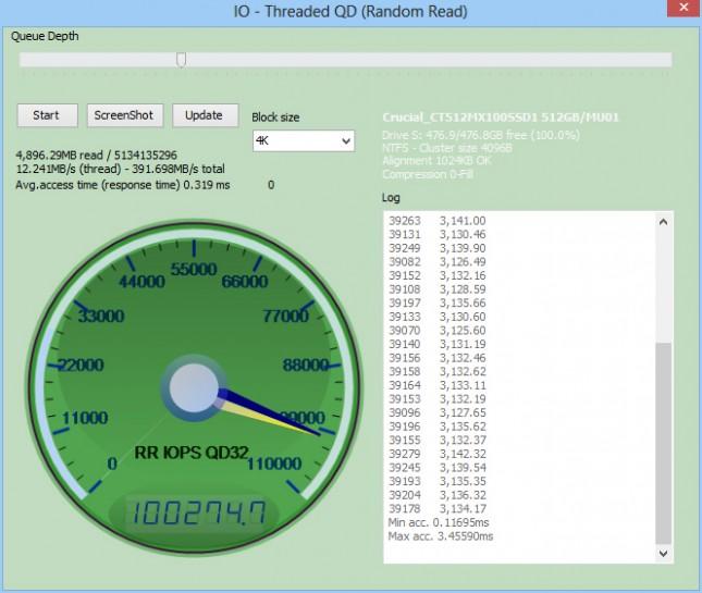 Crucial MX100 512GB IOPS READ