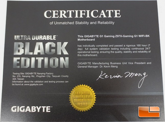 GIGABYTE Z97X-Gaming G1 WiFi-BK Certificate of Unmatched Stability and Reliability