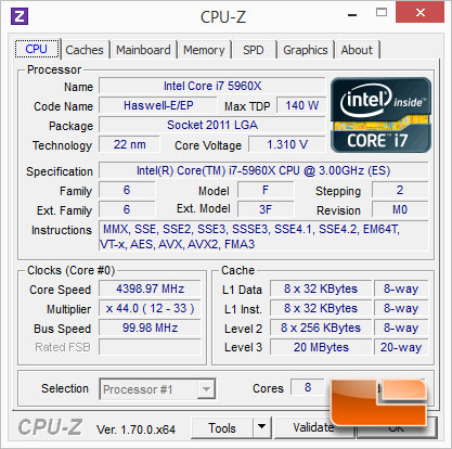 ASUS X99-Deluxe Intel Core i7-5960X Overclocking Results