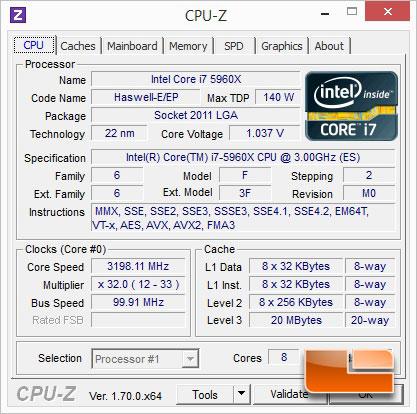 ASUS X99-Deluxe Intel Core i7-5960X CPUz