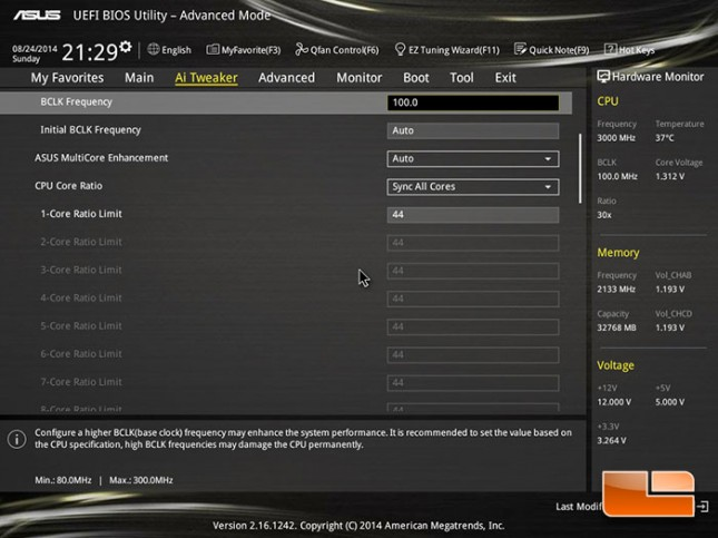 ASUS X99-Deluxe Overclocking Results