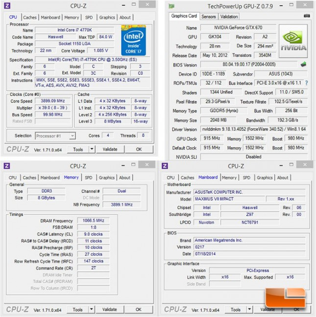 ASUS Maximus VII Impact Intel Z97 Test System Settings