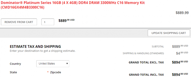 Corsair 3300MHz DDR4 Cost
