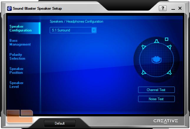 Sound Blaster Speaker Setup