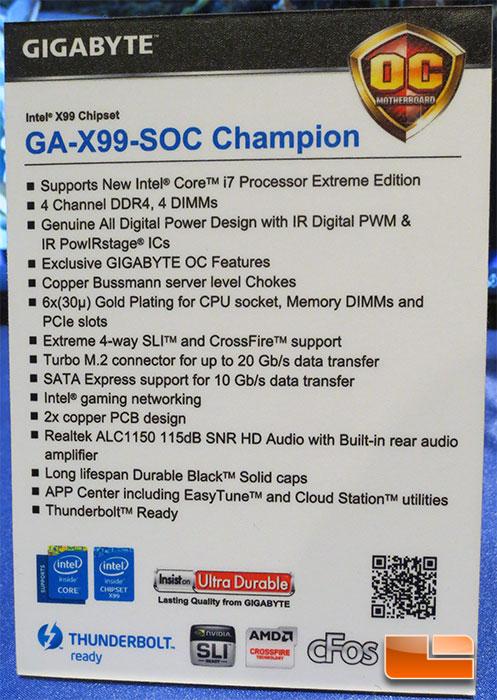 GIGABYTE X99-SOC Champion Intel X99 Motherboard