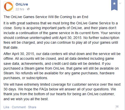OnLive shutdown