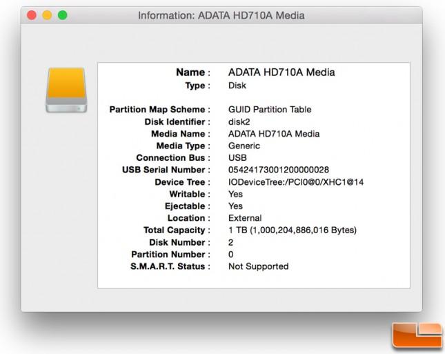 ADATA HD710A Disk Utility