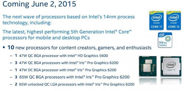 Intel broadwell processors