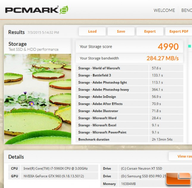PCMark 8 Storage Test Samsung 850 PRO 2TB