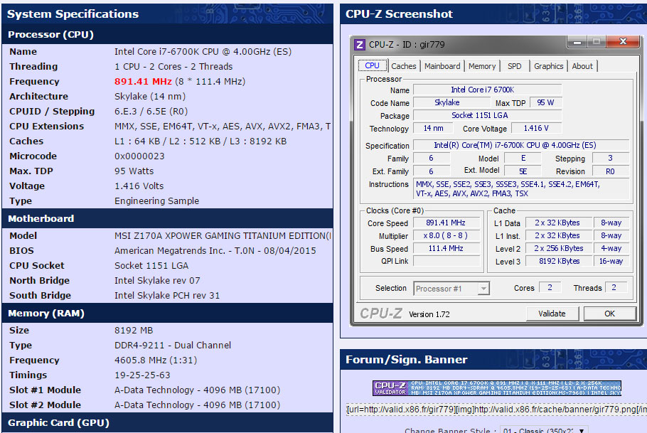 MSI Z170 Able To Run DDR4 Memory Overclocked at 4605 MHz