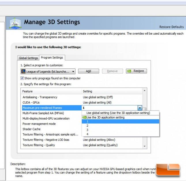 GeForce Control Panel Latency Optimization