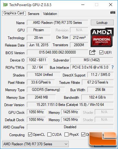 MSI Radeon R7 370 Gaming 2GB GPU-Z