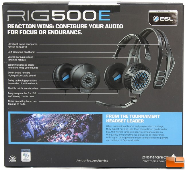 Plantronics RIG 500E Packaging Back