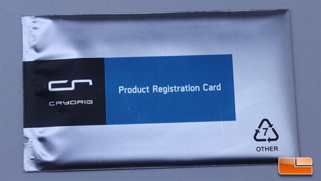 Cryorig A80 Registration Card