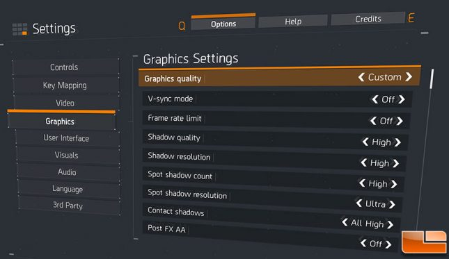 The Division settings