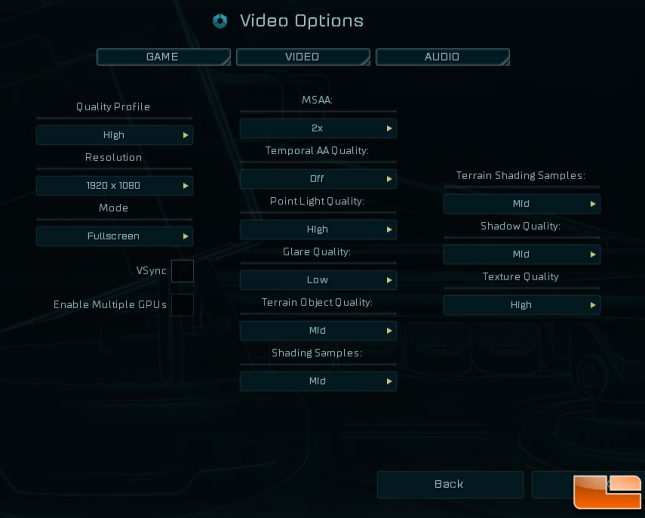 ashes options menu