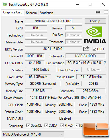 GeForce GTX 1070 GPU-Z